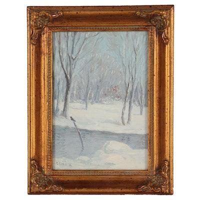 Joseph Baris Impressionistic Oil Painting of Winter Landscape
