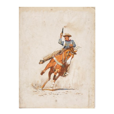 """Gerald McConnell Gouache Painting """"The Hellsfire Lawman"""""""