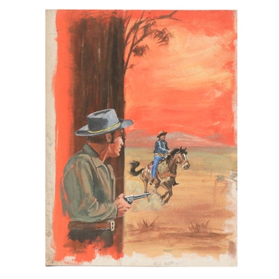 """Gerald McConnell Gouache Painting """"The High Hander"""""""