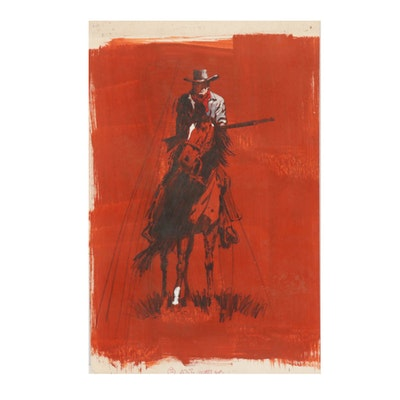 "Gerald McConnell Gouache Painting ""Giant on Horseback"""