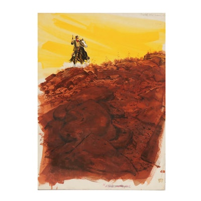 """Gerald McConnell Gouache Painting Cover """"Relentless Rider"""""""