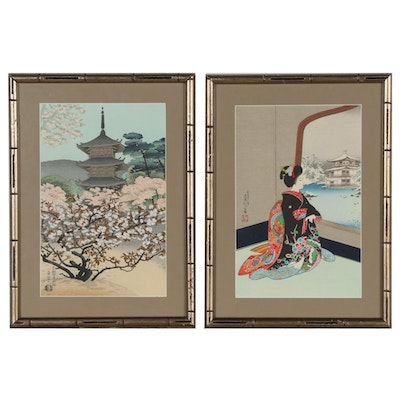"Shin-Hanga Woodblocks ""Pagoda at Ninnaji Temple"" and ""Kinkaku-ji in Snow"""