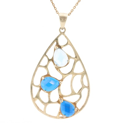 Gold Wash on Sterling Silver Synthetic Spinel Pendant Necklace