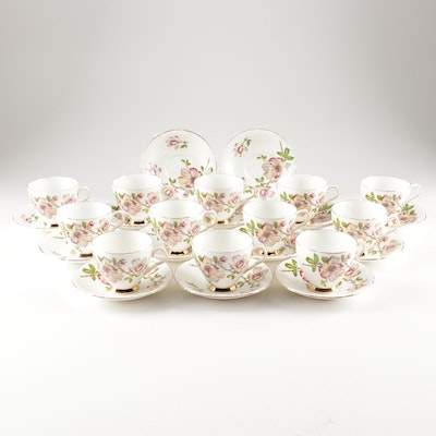 Old Royal English Bone China Floral Motif Teacups and Saucers