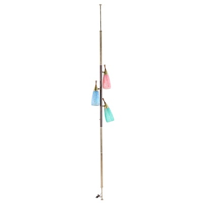 Tension Pole Floor Lamp with Bullet Shades, Mid-Century