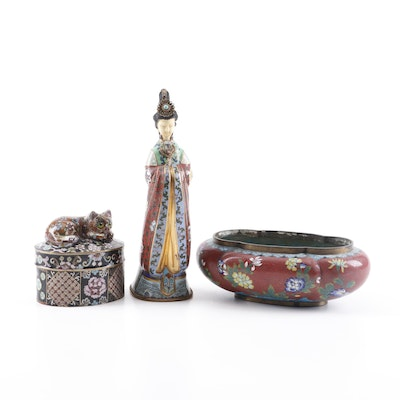 Chinese Cloisonné Cat Finial Trinket Box with Figurine and Bulb Bowl