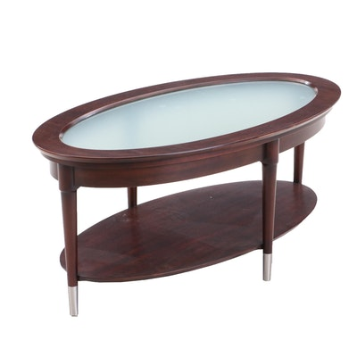 Harden Contemporary Oval Frosted Glass Coffee Table
