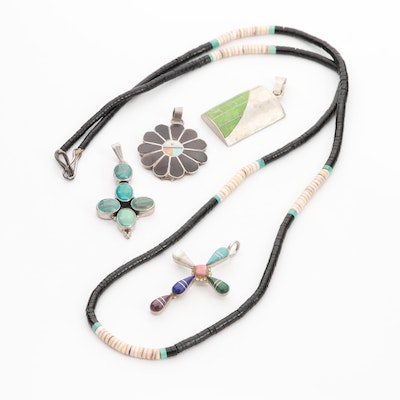 Southwestern Sterling Gemstone Keshi Necklace and Four Pendants Featuring Cross
