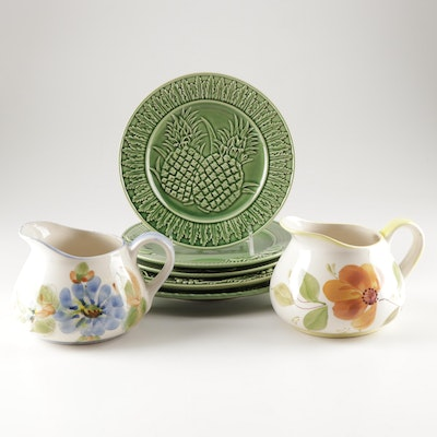 Portuguese Hand-Painted Ceramic Pitchers and Bordallo Pinheiro Plates