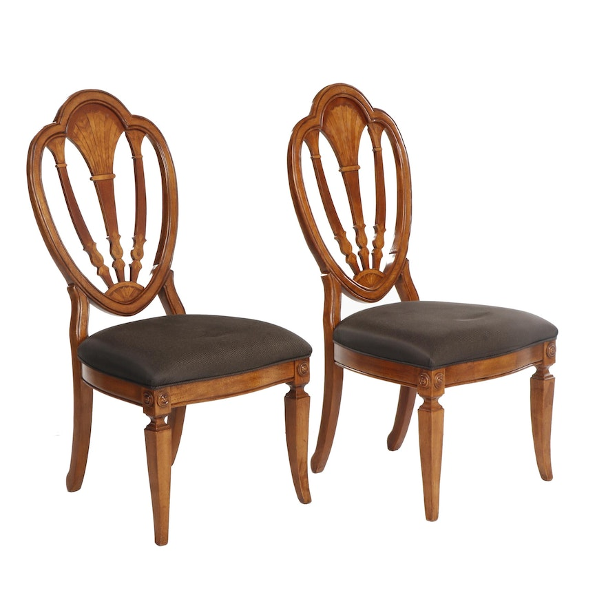 Pair of Sheraton Style Shield Back Side Chairs, Late 20th Century
