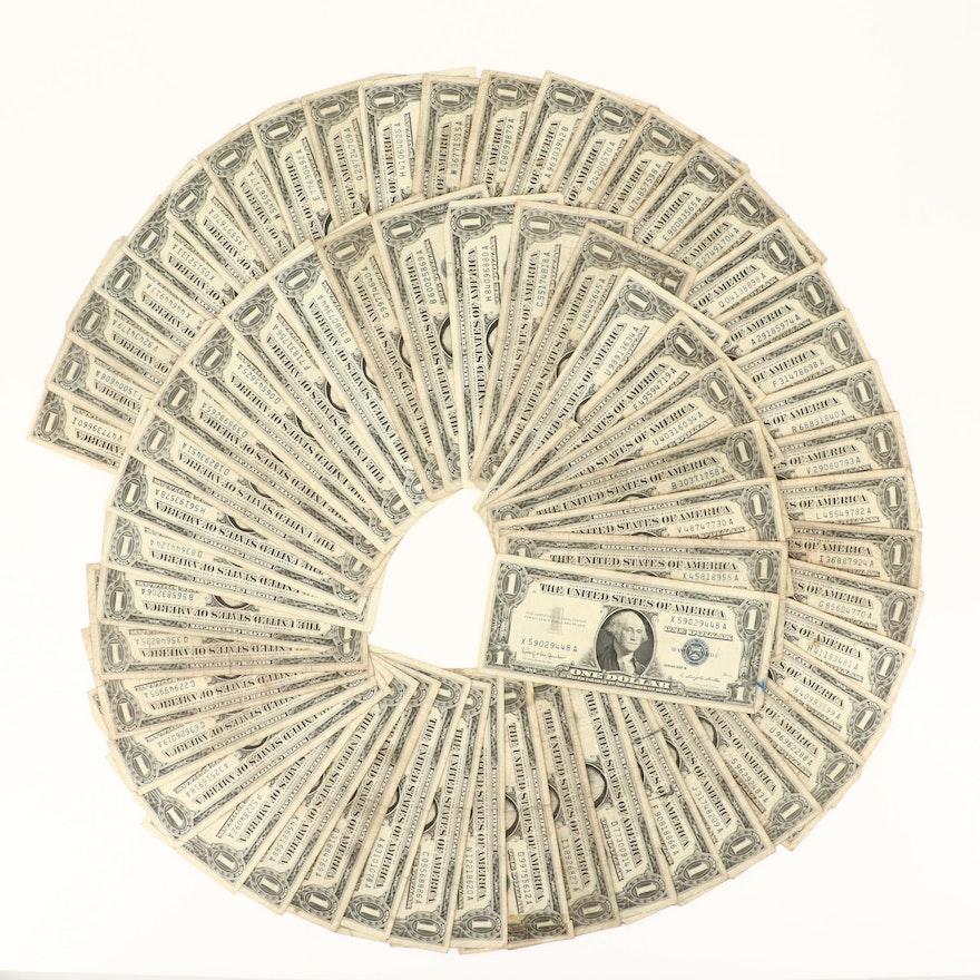 Sixty-Four U.S. $1 Silver Certificates