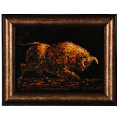 Charles Burdick Oil Painting of a Bull