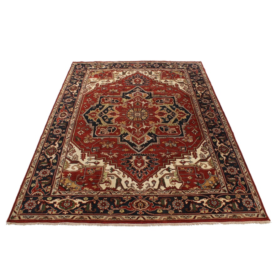 Hand-Knotted Indo-Persian Heriz Wool Room Sized Rug