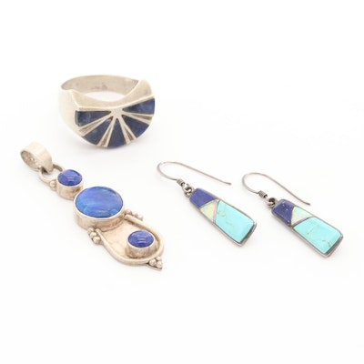 Southwestern Style Sterling Solitaire Lapis Lazuli and Synthetic Opal Jewelry