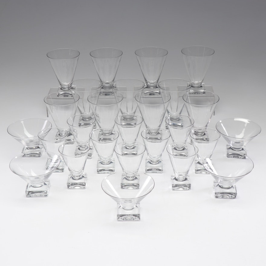 Crystal Square-Footed Wine and Martini Glasses, Mid-Century