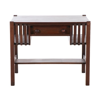 Arts and Crafts Style Poplar Writing Desk, Early 20th Century