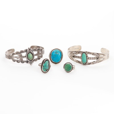 Southwestern Sterling and 900 Silver Chrysocolla Jewelry with Bell Trading Post