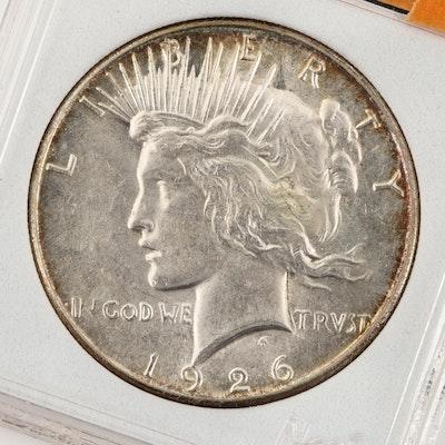 Encapsulated 1926-S Peace Silver Dollar