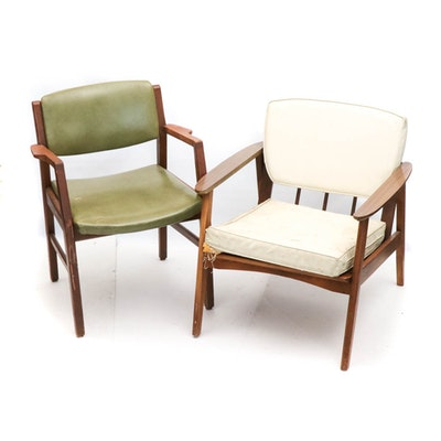 Mid Century Modern Armchairs, Group of Two