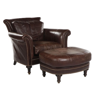 "Plunkett ""Surrey"" Brown Leather Club Chair and Ottoman, Late 20th Century"