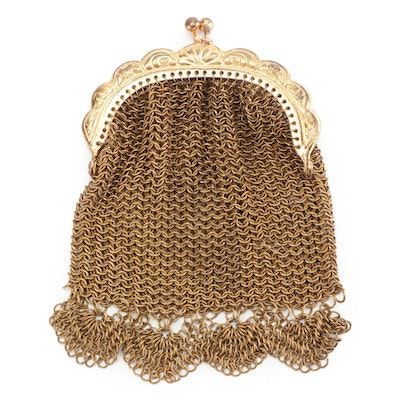 Gold Tone Metal Mesh Coin Purse with Kiss Lock, Vintage