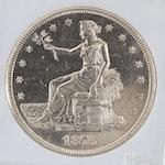 Encapsulated 1876-S Trade Silver Dollar