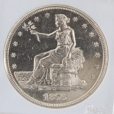 Encapsulated 1876-S Trade Silver Dollar