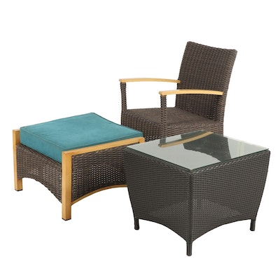 Woven Vinyl Patio Chair with Ottoman and Side Table
