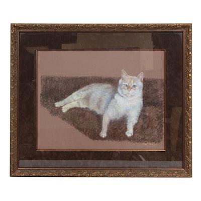 C. W. Petit Feline Portrait Pastel Drawing