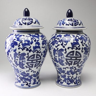 Chinese Blue and White Ceramic Lidded Jars