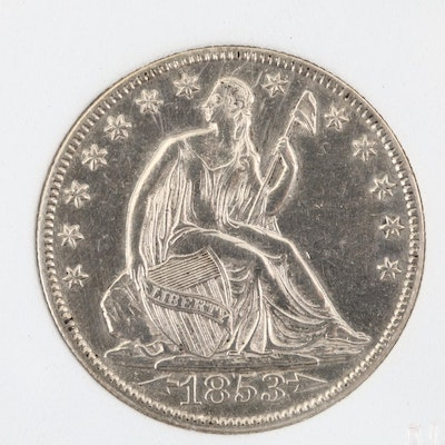 Encapsulated 1853-O Liberty Seated Silver Half Dollar, with Arrows and Rays