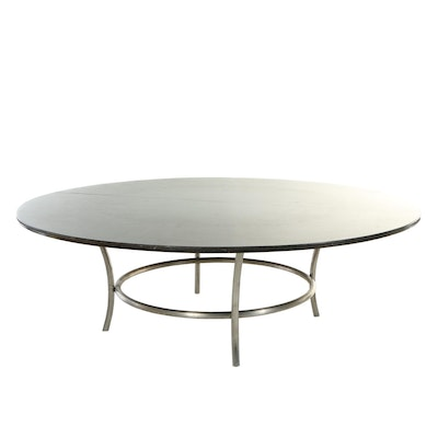 Large Tubular Metal and Stained Wood Round Dining Table, 20th Century