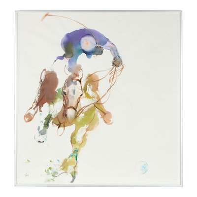 Polo Player Watercolor Painting