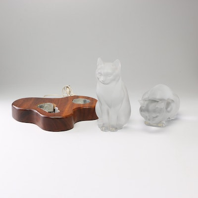 "Lalique ""Crouching Cat"" and ""Sitting Cat"" Frosted Crystal Figurines with Display"