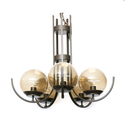 Modern Pendant Light with Smoked Glass Globes, Mid-20th Century