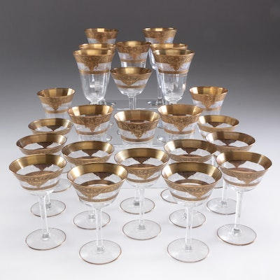 Gold Encrusted and Etched Blown Glass Stemware, Vintage