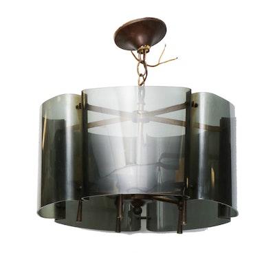 Smoked Lucite Pendant Light, Mid-20th Century