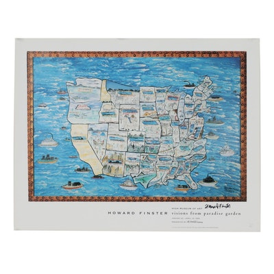 """Howard Finster Offset Lithograph after """"The Story Map"""""""