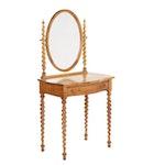 Birdseye Maple Veneered Barley Twist Vanity Table, Early to Mid 20th Century