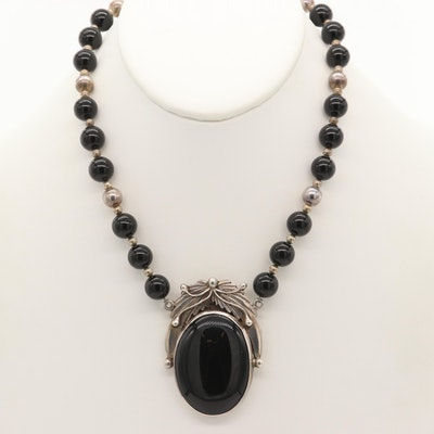 Southwestern Sterling Silver Black Onyx Beaded Necklace