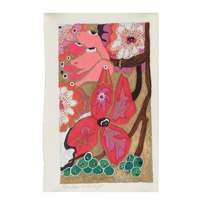 "Evelyn Marx Drawing ""Garden in Sunlight"""