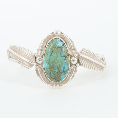 Southwestern Sterling Silver Turquoise Cuff Bracelet with Feather Motif