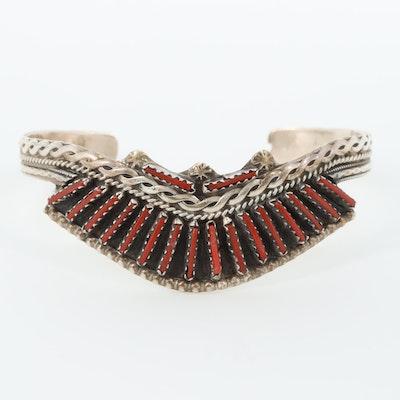 Jimmy Yazzie Navajo Diné Sterling Silver Coral Petit Point Cuff Bracelet