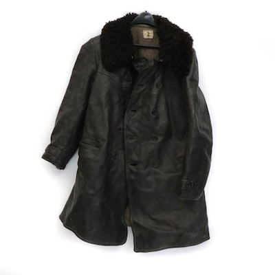 Men's Black Leather Military Peacoat with Wool Lining and Lamb Fur Collar