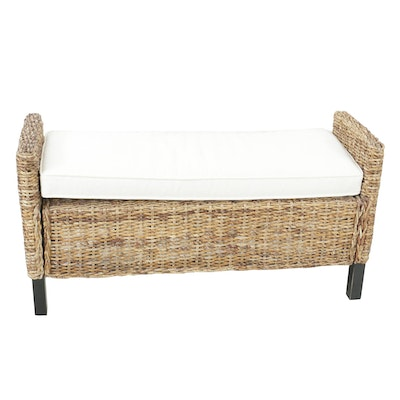 Woven Bench with Cushion, Contemporary