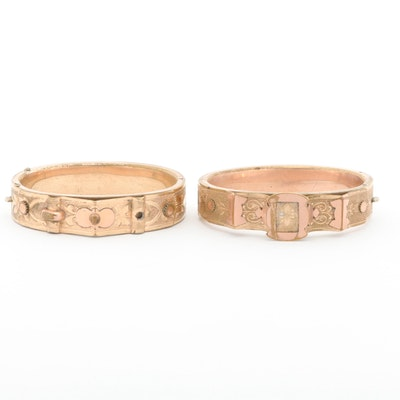 Victorian Gold Tone Two Floral Hinged Bracelets