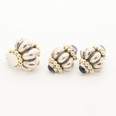 Lagos Caviar Sterling Silver Iolite Ring and Earrings with 18K and 14K Accents