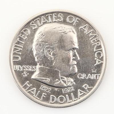 Key Date 1922 Grant Memorial Commem. Silver Half Dollar, Star on Obverse Variety