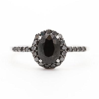 10K White Gold Sapphire and Black Diamond Halo Ring