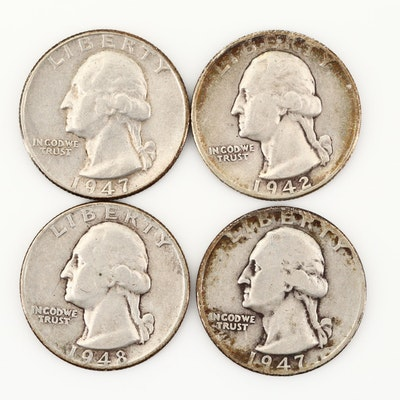 Four Vintage Washington Silver Quarters